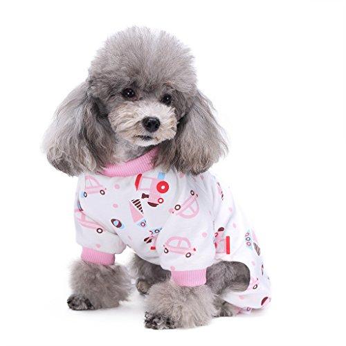 s-lifeeling Hund Kostüme Outfit Pink Auto Muster Komfortable Puppy Schlafanzug Weiche Hund Jumpsuit Shirt Best Geschenk 100% Baumwolle Mantel für kleine und mittlere (Ideen Großer Hund Kostüme)