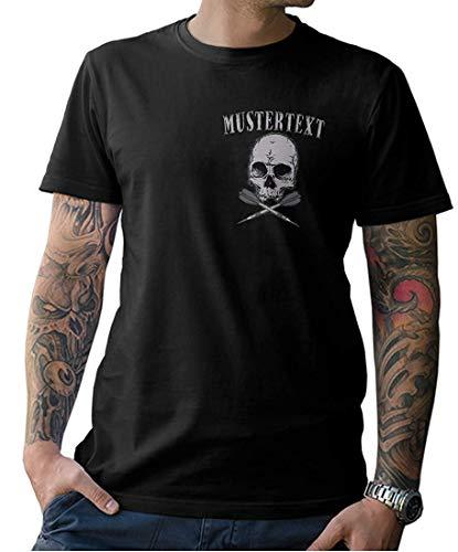 Herren Dart Skull Shirt - INDIVIDUALISIERBAR mit Eurem Wunschnamen - Front- und Rückenprint - Gr. S-XXXXXL