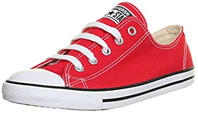 M1 Genuine Converse 537107 All Star Chuck Taylor Plimsolls Dainty Womens Trainers (3 UK, Red )