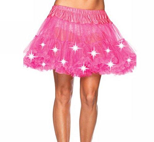 MAX MALL Damen Glam Gotik Tüll Ballet Tutu Tanz Rock mit Led Licht Petticoat in verschiedenen Farben (Rosa-2)