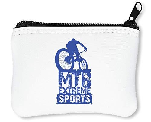 MTB Extreme Mountain Bike Riding In Forest Downhill Bike Cool Phrases Words Reißverschluss-Geldbörse Brieftasche Geldbörse