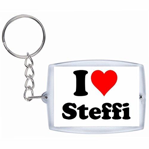 """Preisvergleich Produktbild Exklusive Geschenkidee: Schlüsselanhänger """"I Love Steffi"""" in Weiss, eine tolle Geschenkidee die von Herzen kommt - Rucksackanhänger- Weihnachts Geschenktipp"""