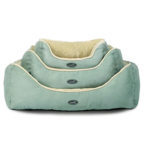 Pecute Deluxe Pet Bed for Cats and Small Dogs Rectangle Cuddler Ultra-Soft Plush Solid Pet Sleeper Machine Washable, Green and Beige (Medium(53*63*25cm))