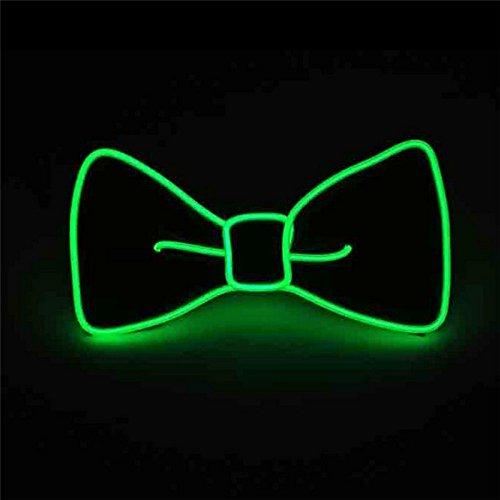 Glaray Leuchtend Krawatte Neuheit Einstellbar EL Draht LED Aufhellen Leuchtende Fliege (Grün)