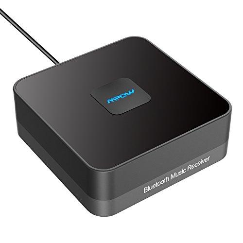 Mpow Bluetooth 4.1 Empfänger Bluetooth Audio Adapter mit Entstörfilter für Stereoanlage, (keine Akku,immer betriebsbereit,Gut mit Echo Alexa,iOS,Android System) für Musikanlage/ HiFi Anlage/Auto Lautsprecher/Musikstreaming-Soundsystem mit AUX und Cinch RCA Kabel