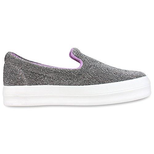 Japado Komfortable Damen Sneakers Bequeme Slipper Funkelnde Glitzerapplikationen Modische Plateausohle Gr. 36-41 Grau Meliert