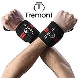 TremonT Polsiere Palestra Professionali per Fitness, Supporto articolazioni per Bodybuilding Crossfit Calisthenics. Wrist Wraps, Cinghie Elasticizzate (50cmX8cm), Set da 2 Fasce (Rosso)