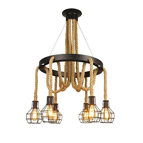 Elegent Vintage Eisen Kronleuchter Industrie 6 Beleuchtung Seil Kronleuchter Metalldraht Käfig Lampe Loft Rustikale Deckenleuchte Indoor Retro Beleuchtung Einzigartig Bezaubernd -