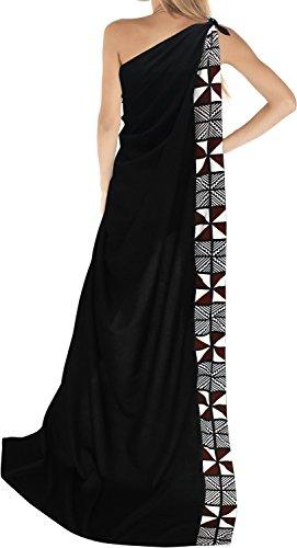 La Leela rayon solido costume da bagno cucita sarong coprire pareo 78x39 pollici scuro Triangolo Nero