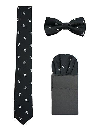 WANYING Herren 6cm Krawatte & Gebundene Fliege & Einstecktuch 3 in 1 Set Yuppie Trendmode Casual Cool - Totenkopf Pattern Schwarz