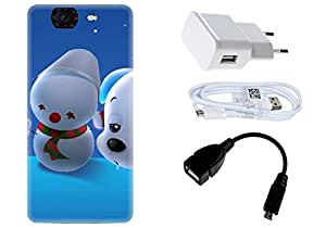 Spygen Micromax Canvas Knight A350 Case Combo of Premium Quality Designer Printed 3D Lightweight Slim Matte Finish Hard Case Back Cover + Charger Adapter + High Speed Data Cable + Premium Quality OTG
