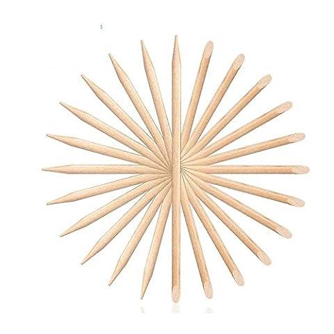crystalum® 100Stück Nail Art Design Orange Holz Stick kurz 11,5cm Nagelhautschieber Werkzeug Entferner Maniküre (Bead Nipper Werkzeug)