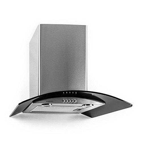 Klarstein GL60WSB Cappa Aspirante con rivestimento in vetro e acciaio inox (60 cm, potenza di aspirazione pari a 370 m³/h, 3 livelli di potenza, design accattivante) - nero/argento