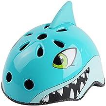 YGJT Casco de Bicicleta Patinete Infantiles para niños 2-5 años Casco Protección Seguridad Tiburón Color Azul