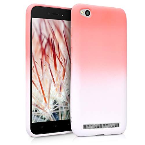 kwmobile Funda para Xiaomi Redmi 5A - Carcasa de [TPU] para móvil y diseño Bicolor en [Rosa Claro/Blanco]