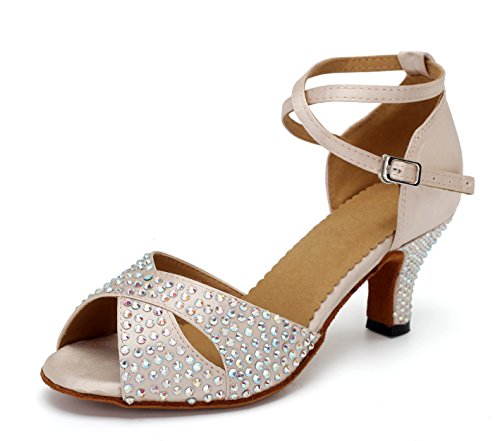 URVIP Neuheiten Frauen's PU Leder Heels Absatzschuhe Moderne Strass Latein-Schuhe mit Knöchelriemen Tanzschuhe LD095 Beige 43 CN