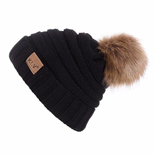 SHOBDW Winter Strickmütze Männer Frauen Baggy Warm Crochet Winter Wolle Stricken Ski Beanie Schädel Slouchy Caps Hut (Schwarz) -