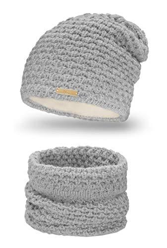 Mikos* Winter Kombi Set aus Winter Schal und passender Strickmütze/Beanie (690) (Grau)