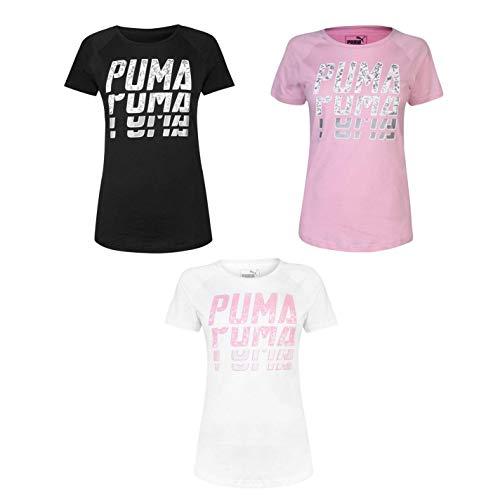 Puma Ripetuto Parola T-Shirt Donna Top Maglietta Athleisure Activewear - Rosa, UK 14 (Grande)