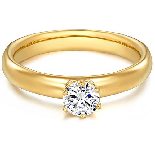 Tresor 1934 Bague femme / Bague de fiançailles / Solitaire Argent Sterling 925/1000 doré or jaune Oxyde de zirconium blanc T. 48 60451016