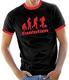 Evolution Fussball Kontrast / Ringer T-Shirt Black/Red, M