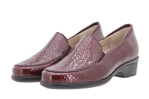 Piesanto Zapatos Mujer Confort Cuero 9610 Mocasines Casual Confort Ancho Especial Burdeos