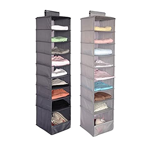 9 Shelf Hanging Wardrobe Storage Unit Sweater Organiser 1 PCS (Dark gray)