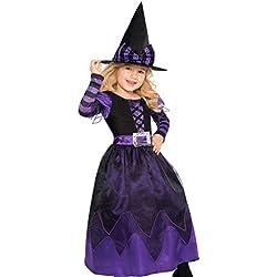 Disfraz de bruja largo para niña. Color violeta y negro.