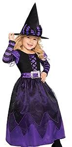 Disfraz de bruja para niña con vestido de fiesta adornado para Halloween, de la marca Amscan