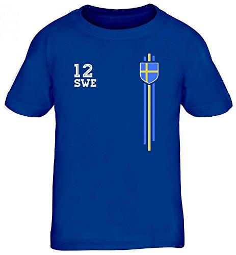 Sverige Sweden World Cup Fussball WM Fanfest Gruppen Kinder T-Shirt Rundhals Mädchen Jungen Streifen Trikot Schweden, Größe: 122/128,Royal Blau