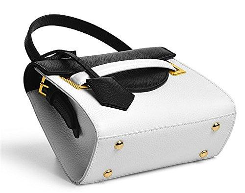 Sacs à main pour femme Xinmaoyuan épaule Messenger Bag Ladies sac à main Sacs à main Sacs à main en cuir couleur Hit Noir avec blanc