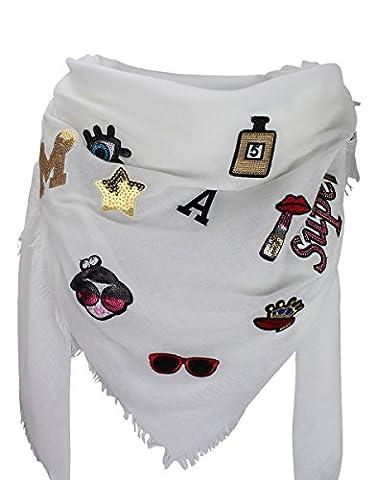 XXL PATCHES Damen Karo Schal Tuch Deckenschal Karoschal Halstuch Fashion Plaid (Weiß)