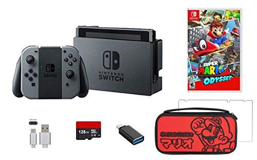 Nintendo Switch Bundle (7Artikel): Nintendo Switch 32GB Konsole grau joy-con, 128GB Micro SD Speicherkarte, HDMI-Kabel, USB C Adapter, Displayschutzfolie, Konsole Fall–Rot und Mario Odyssey Game Disc