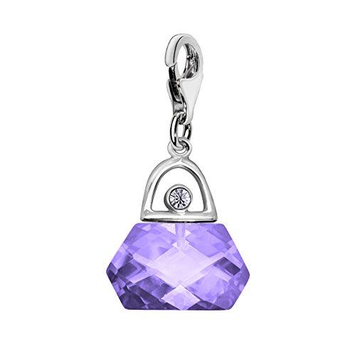 Quiges Damen-Charm Anhänger Kristall Violett Zirkonia 3D Handtasche 925 Sterlingsilber mit Karabinerverschluss (Handtaschen Authentischen Handtasche)