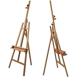 Artina® Akademie-Staffelei Barcelona Buche-Holz Profi Künstler-Bedarf für Keilrahmen Größe bis 120cm mit Doppelauflage