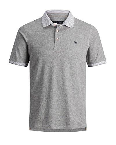 JACK & JONES PREMIUM Herren Poloshirt Jprperry Polo SS Pre Grau Light Grey Melange Fit:Slim Fit