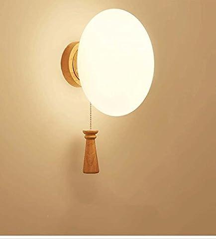 Miroir mural japonais simple et créatif japonais en bois massif , 8086+3 watt led bulb