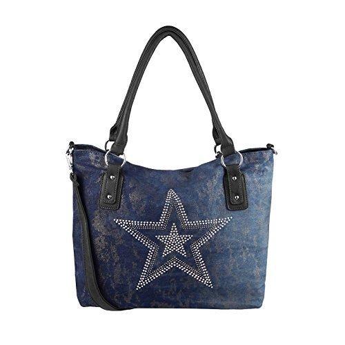 Design Hobo Handtasche (OBC ital-design XXL Damen Stern Tasche Handtasche Canvas Baumwolle Strasssteine Gold-Silber Bowling Beuteltasche Hobo-Bag Henkel Shopper CrossOver (Blau-Schwarz))