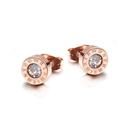 Wistic Il nuovo modo oro rosa 18 carati placcato zircone Stud Clip-on orecchino di Nizza regalo per le donne e le ragazze