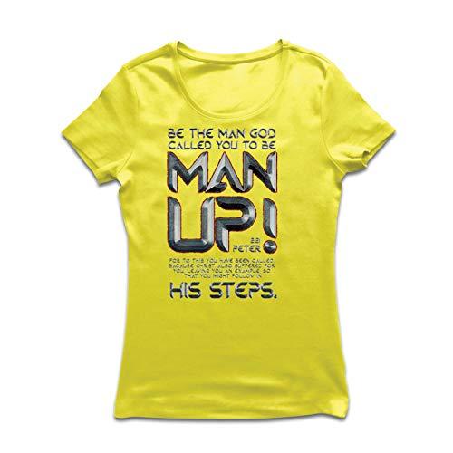 lepni.me Frauen T-Shirt 1 Peter 2:21 Christian Bible Verses Jesus Christ Faith (X-Large Gelb Mehrfarben) - X-large Adult Christian T-shirt
