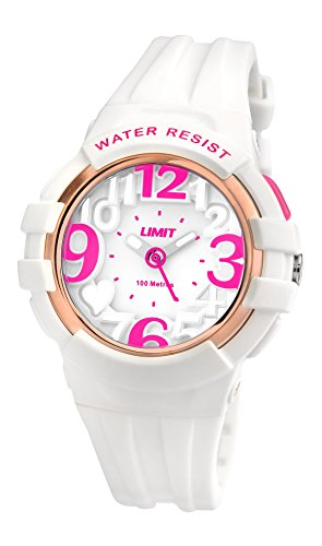 Limit-Active-Girls-Quartz-Watch-with-White-Dial-Analogue-Display-and-White-Plastic-Strap-557624