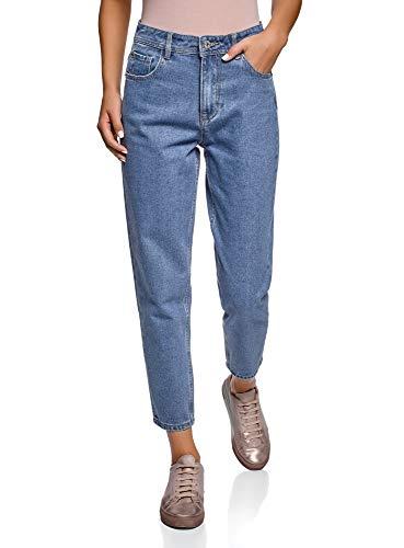 oodji Ultra Damen Jeans Mom Fit mit Hohem Bund, Blau, 28W / 32L (DE38 = EU40 = M)