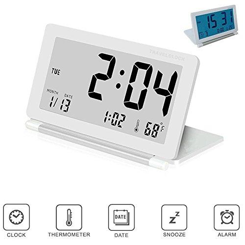 Pawaca Reisewecker, Großem LCD Klapp Funk Wecker Digital-Wecker mit Schlummerfunktion, Hintergrundbeleuchtung, Temperatur- und Datumsanzeige Digitale Flip-uhr