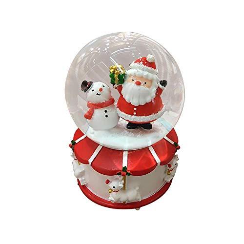 ALIAN Christmas Crystal Ball Music Box, Rotante Automatico A Fiocco di Neve Carillon di Natale Casa Decorazione di Natale Regali di Compleanno per Bambini E Bambine Beautiful Desktop Ornamento per