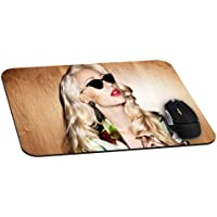 Iggy Azalea With Black Glasses Gaming Office Mouse Pad with Cloth Cover - Non-Slip Rubber Backing - Special-Textured Surface(8.7*7.1*0.12Inch)