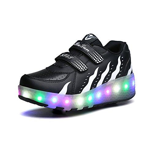 5a3f83fe16622 Unisex Enfants Chaussures à Rouleaux LED Outdoor avec roulettes Doubles  Bouton Poussoir Ajustable lnline Skates Baskets