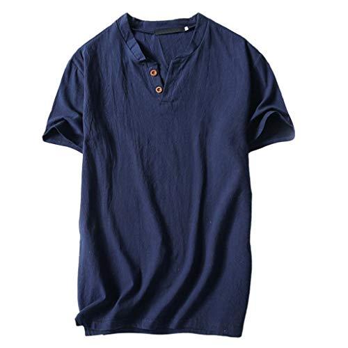 Camisetas Hombre,SHOBDW Verano de Lino Liso Algodón Talla Grande Botón de Manga Corta Camiseta con Cuello En V Blusa Suelta Camiseta Informal Tops para Hombres(Azul Oscuro,L)