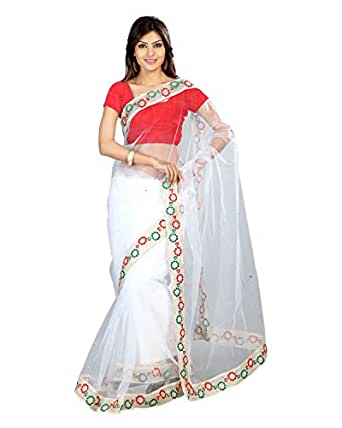 Sanskar Fashion Net Saree (Sku54_White)