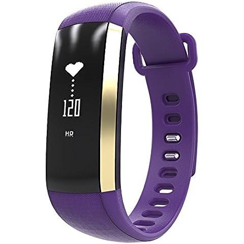 Wallner intelligente braccialetto di vigilanza Banda Blood Pressure Monitor frequenza cardiaca Contapassi fitness intelligente Wristband(Oro) (Viola)