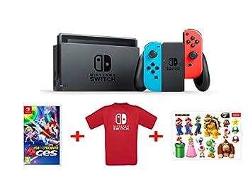 Nintendo Switch - Mavi/Kırmızı + Mario Tennis Aces + T-Shirt